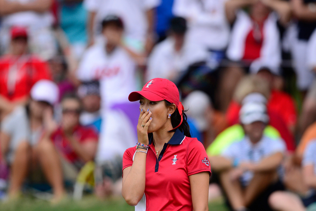 . Michelle Wie reacts to missing a putt on the 16th against Caroline Hedwall during the final round of the Solheim Cup. A win marks the first time the Europeans have won the competition in the United States. (Photo by AAron Ontiveroz/The Denver Post)