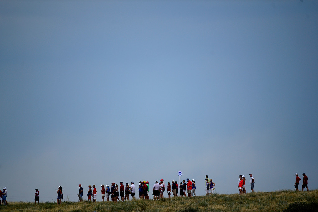 . Fans line the course during the final round of the Solheim Cup. A win marks the first time the Europeans have won the competition in the United States. (Photo by AAron Ontiveroz/The Denver Post)