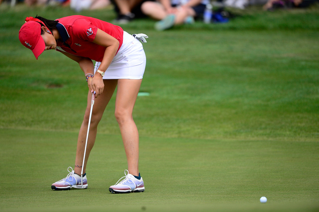 . Michelle Wie misses a putt on the 16th against Caroline Hedwall during the final round of the Solheim Cup. A win marks the first time the Europeans have won the competition in the United States. (Photo by AAron Ontiveroz/The Denver Post)