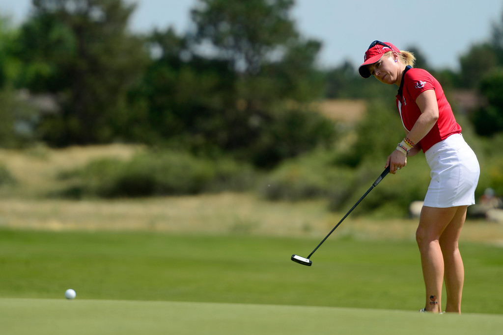 . Morgan Pressel hits a putt during the final round for the Solheim Cup. A win marks the first time the Europeans have won the competition in the United States. (Photo by AAron Ontiveroz/The Denver Post)