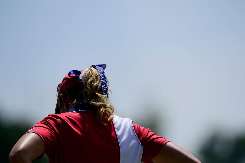 . Paula Creamer hangs her head on the sixth hole against Charley Hull during the final round of the Solheim Cup. A win marks the first time the Europeans have won the competition in the United States. (Photo by AAron Ontiveroz/The Denver Post)