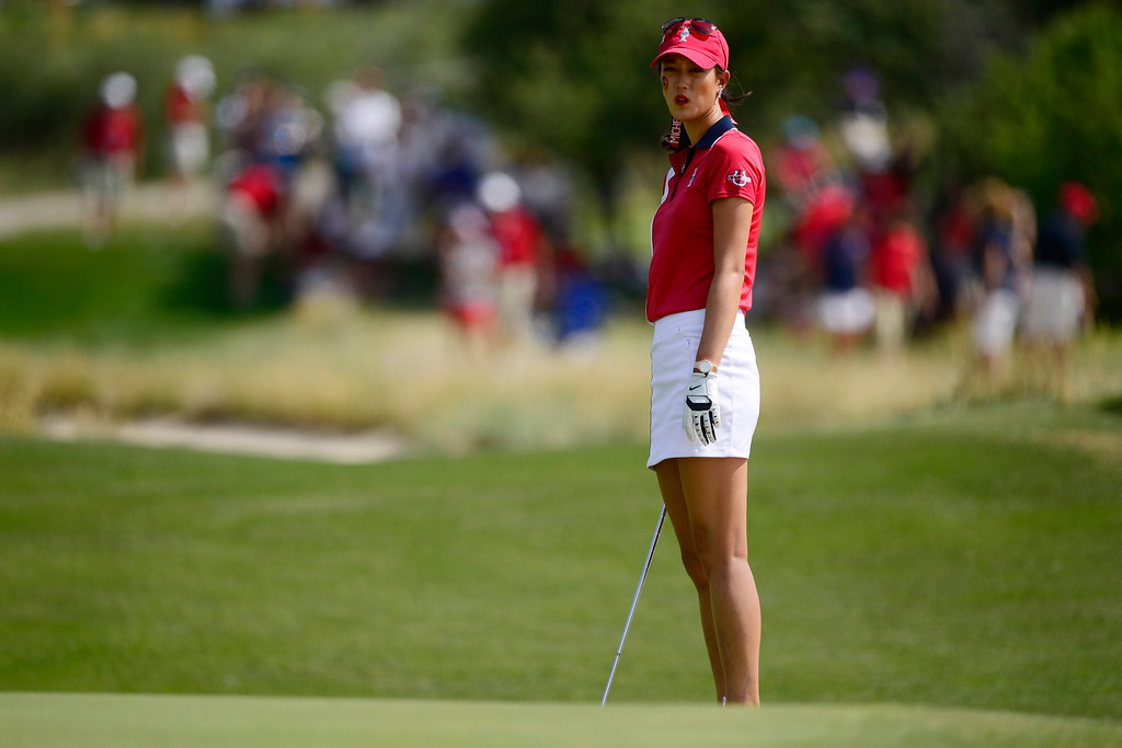 . Michelle Wie reacts to a shot while playing against Caroline Hedwall during the final round of the Solheim Cup. A win marks the first time the Europeans have won the competition in the United States. (Photo by AAron Ontiveroz/The Denver Post)