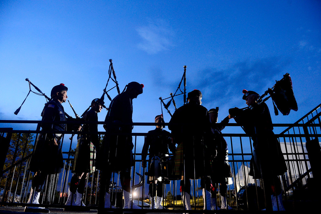. PARKER, CO - AUGUST 18:  The Colorado Emerald Society pipes and drums prepare to perform during the closing ceremony for the Solheim Cup. WThe group consists of police officers and firefighters from throughout the Denver metro area. (Photo by AAron Ontiveroz/The Denver Post)