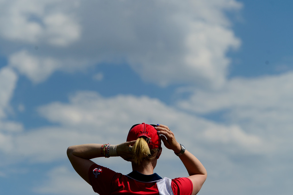 . Morgan Pressel adjusts her cap during a practice round for the Solheim Cup. A win marks the first time the Europeans have won the competition in the United States. (Photo by AAron Ontiveroz/The Denver Post)