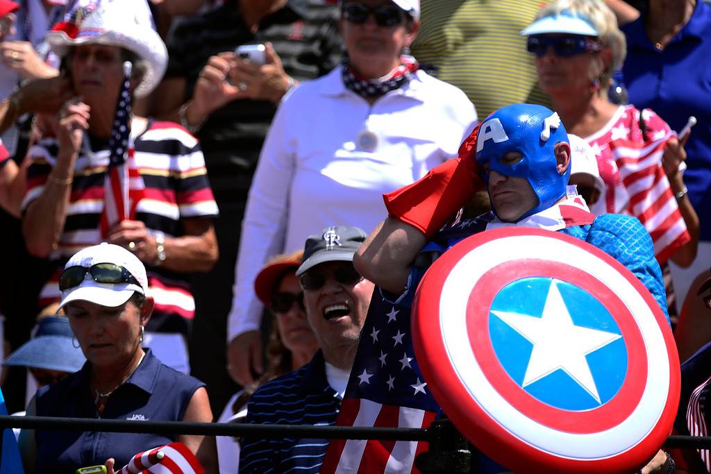 . Captain America reacts to the action during the final round of the Solheim Cup. A win marks the first time the Europeans have won the competition in the United States. (Photo by AAron Ontiveroz/The Denver Post)