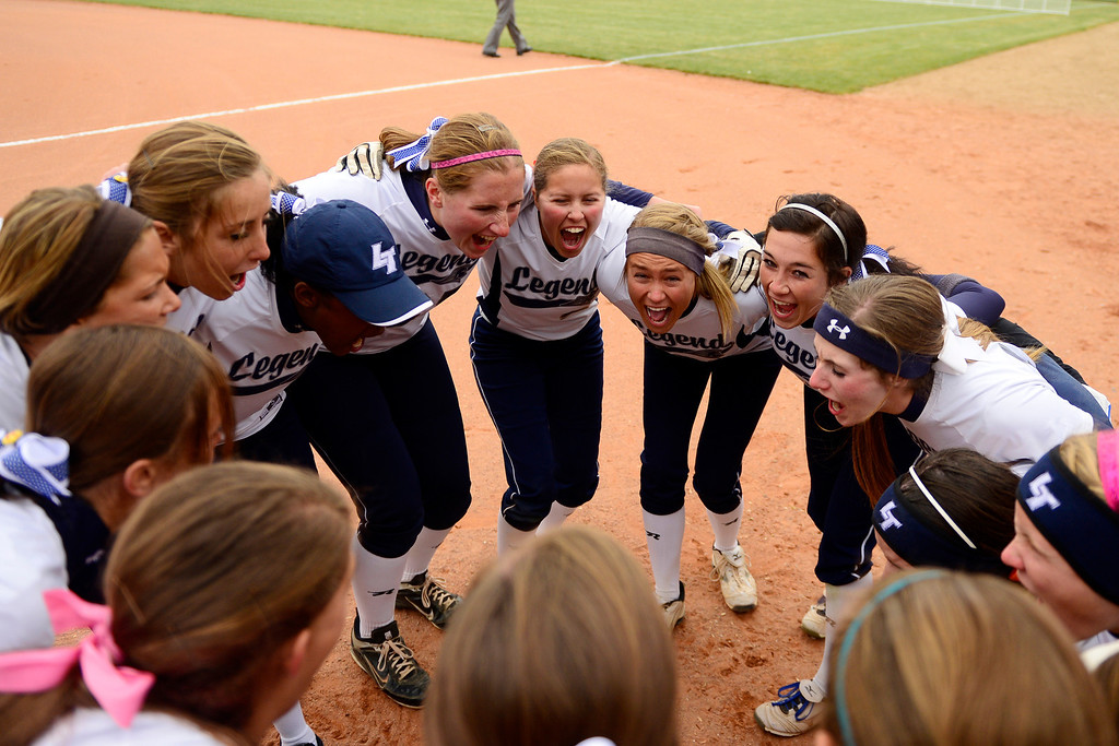 . Legend players do a cheer before the start of their 6-4 state title loss to Legacy at the Aurora Sports Park on Sunday, October 20, 2013. The win was Legacy\'s sixth title in seven years. (Photo by AAron Ontiveroz/The Denver Post)