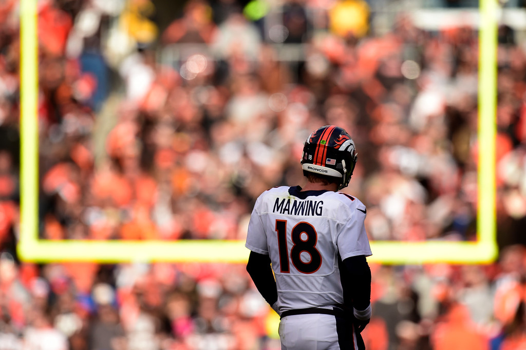 . CLEVELAND, OH - OCTOBER 18: Peyton Manning (18) of the Denver Broncos stands on the field as time winds down in regulation against the Cleveland Browns during the second half of the Broncos\' 26-23 win at FirstEnergy Stadium. The Cleveland Browns hosted the Denver Broncos on Sunday, October 18, 2015. (Photo by AAron Ontiveroz/The Denver Post)