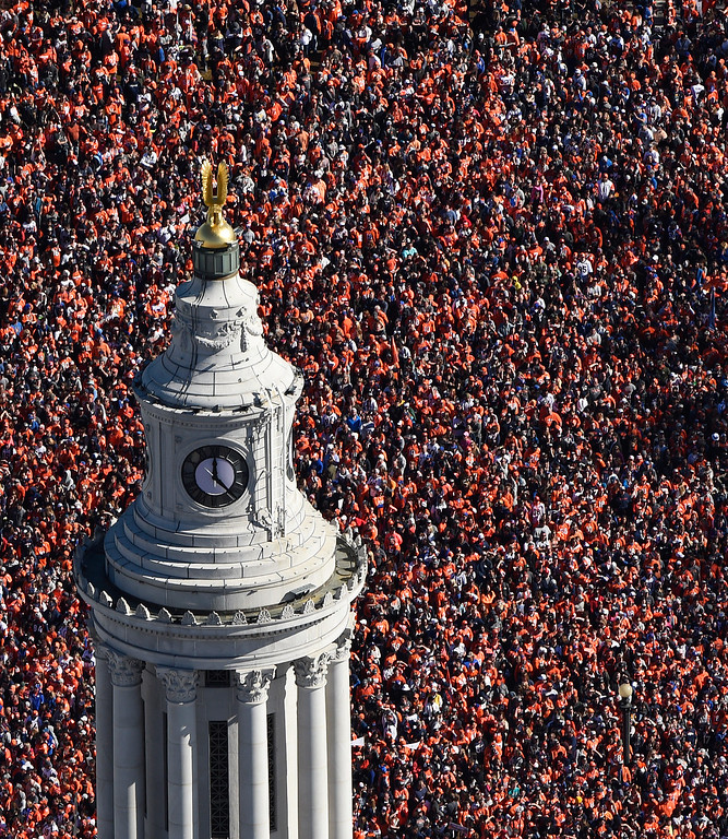 . DENVER, CO - FEBRUARY 09: Fans gather at Civic Center Park, in downtown Denver during a parade to celebrate the Denver Broncos winning Super Bowl 50, February 09, 2016. The parade started at Union Station and ended at Civic Center Park. (Photo by RJ Sangosti/The Denver Post)
