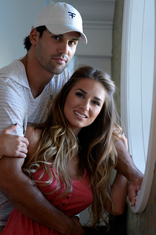 . CASTLE ROCK, CO. - JULY 17: Denver Broncos Eric Decker and his wife Jessie James at their home July 17, 2013. Profile story on the wide receiver. (Photo By John Leyba/The Denver Post)