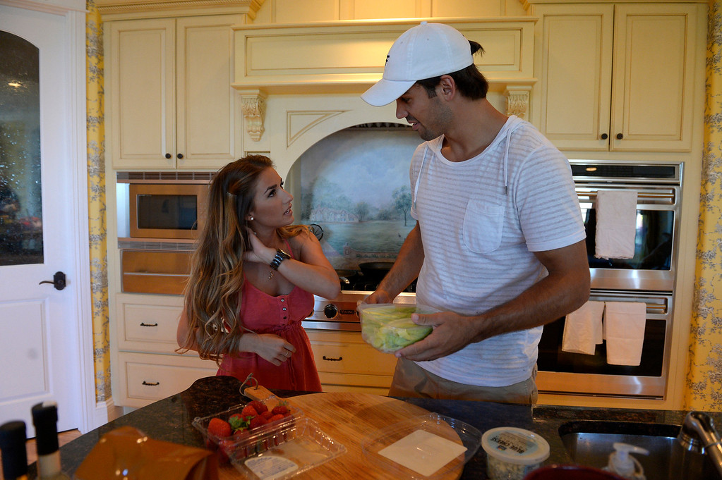 . CASTLE ROCK, CO. - JULY 17: Denver Broncos Eric Decker and his wife Jessie James in the kitchen to start dinner at their home July 17, 2013. Profile story on the wide receiver. (Photo By John Leyba/The Denver Post)