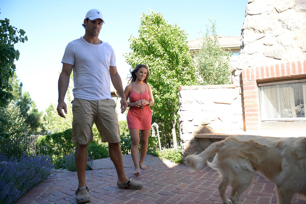 . CASTLE ROCK, CO. - JULY 17: Denver Broncos Eric Decker and his wife Jessie James hang outside on their patio at their home July 17, 2013. Profile story on the wide receiver. (Photo By John Leyba/The Denver Post)