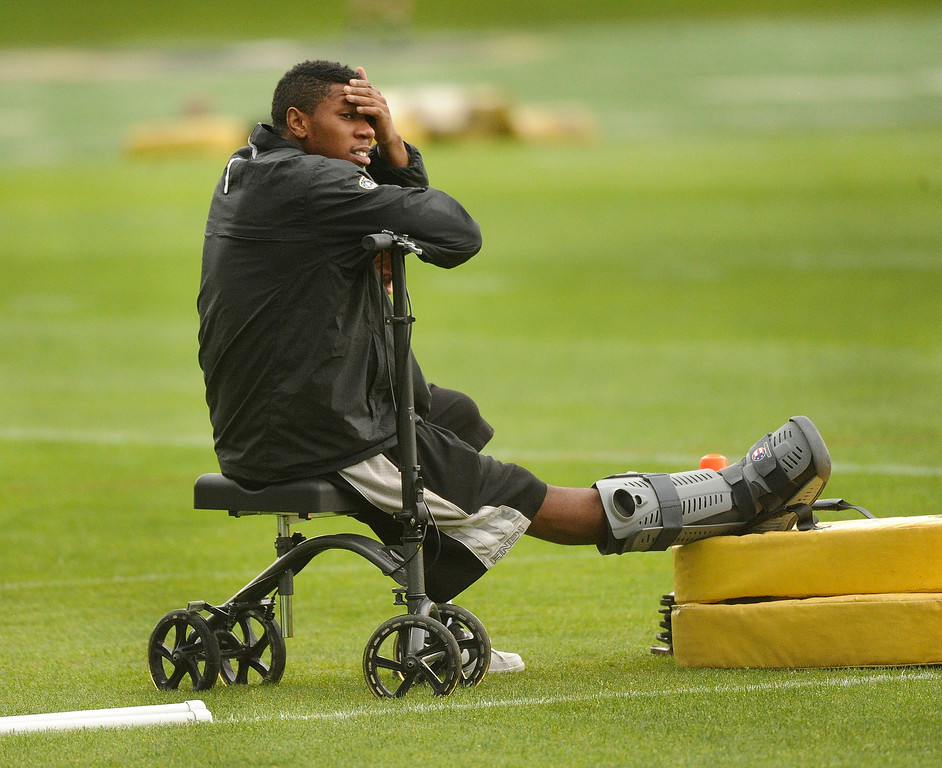 . BOULDER, CO. - AUGUST 06: Cornerback Josh Moten sat out of practice following surgery on his achilles tendon. The University of Colorado football team practiced for the first time Tuesday afternoon, August 6, 2013. Photo By Karl Gehring/The Denver Post