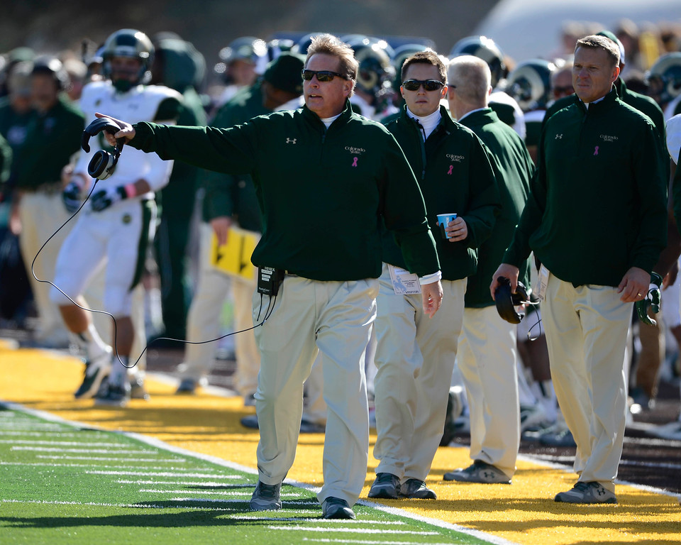 . Colorado State head football coach, Jim McElwain, voices his concern over a call during the game against Wyoming at Jonah Field at War Memorial Stadium Saturday, October 19, 2013. (Photo By Andy Cross/The Denver Post)