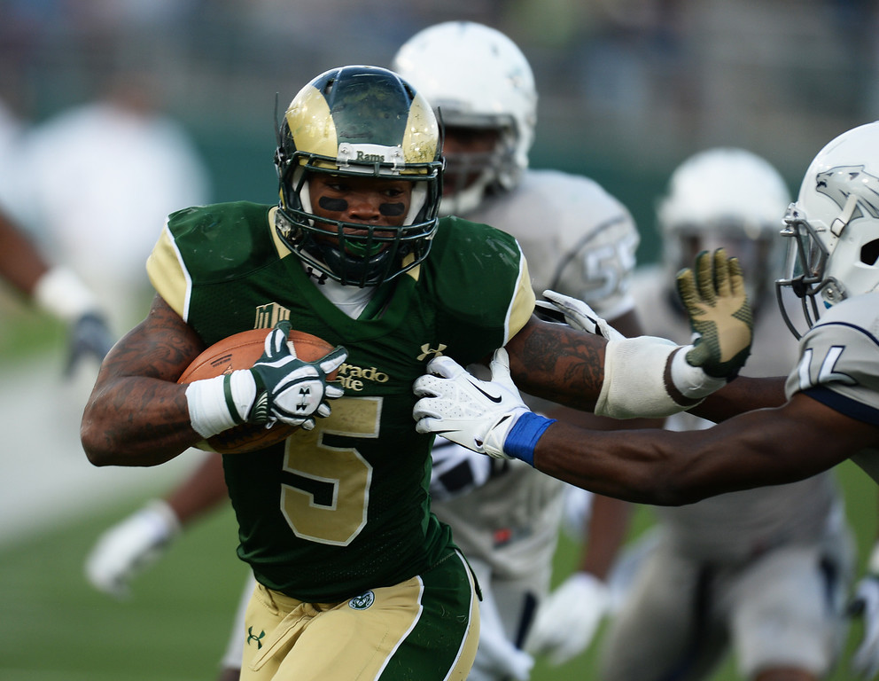 . Kapri Bibbs of Colorado State University (5) controls the ball against University of Nevada in the 2nd half of the game at Hughes Stadium in Fort Collins, Colorado on November 09, 2013. CSU won 38-17. (Photo by Hyoung Chang/The Denver Post)