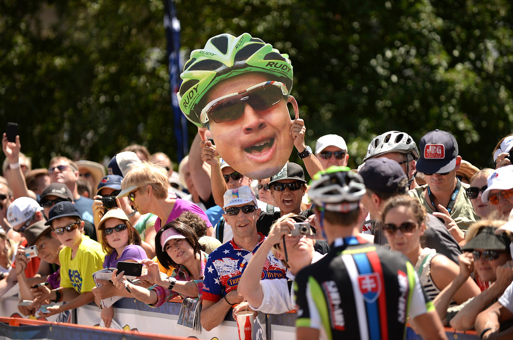 . Fans cheer as they see Peter Sagan of Cannondale Pro Cycling Team near the starting line for the first stage of 2013 USA Pro Challenge race. Sagan won the stage. (Photo By Hyoung Chang/The Denver Post)
