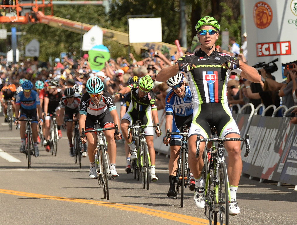 . Peter Sagan of Cannondale Pro Cycling celebrates winning the 60.6-mile first stage of 2013 USA Pro Challenge race (3 laps on the Aspen/Snowmass Circuit)  in Aspen, Colorado. August 19, 2013. (Photo By Hyoung Chang/The Denver Post)