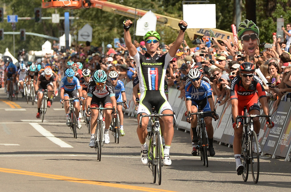 . Peter Sagan of Cannondale Pro Cycling Team celebrates his win of the 60.6-mile first stage of 2013 USA Pro Challenge race in Aspen, Colorado, on three laps of a course to Snowmass on Monday, August 19, 2013.  (Photo By Hyoung Chang/The Denver Post)