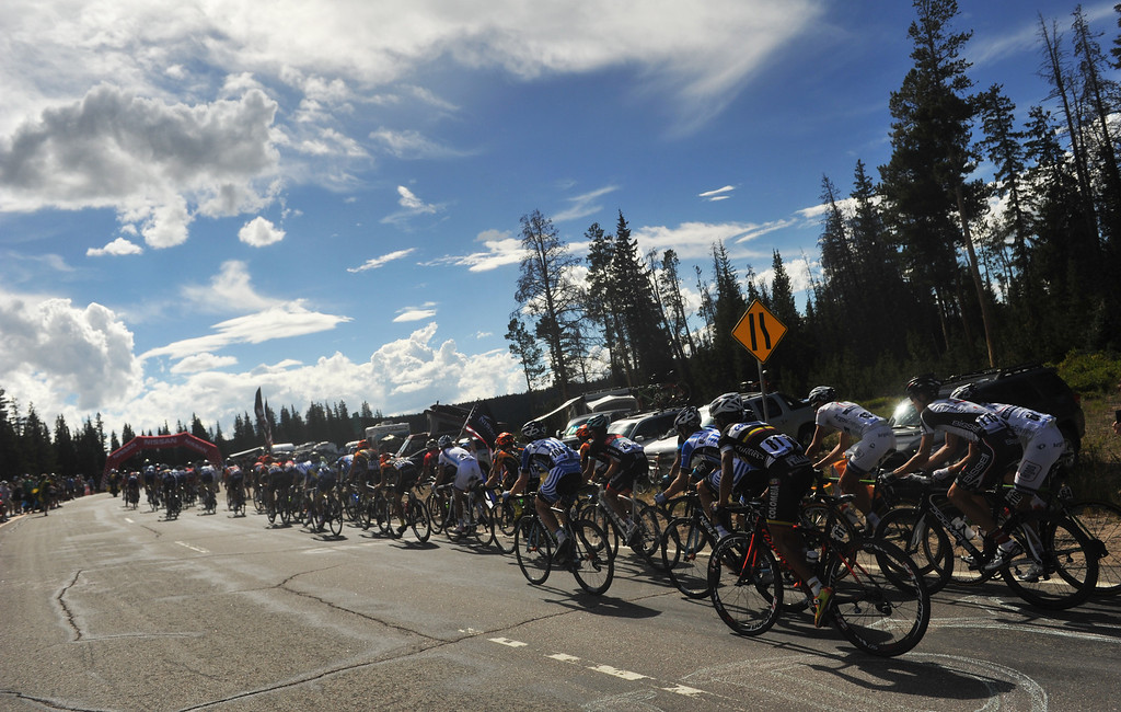 . STEAMBOAT SPRINGS, CO - August 21: Pack of cyclists are climbing Rabbit Ear Pass (9430 ft) during 106.9 mi third stage of 2013 USA Pro Challenge race from Breckenridge to Steamboat Springs. Steamboat Springs, Colorado. August 21, 2013. (Photo By Hyoung Chang/The Denver Post)