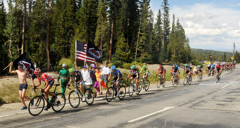 . STEAMBOAT SPRINGS, CO - August 21: Matt Cooke of Jamis-Hagens Berman p/b Shutter Home (133), left, lead the group at Rabbit Ear Pass during 106.9 mi third stage of 2013 USA Pro Challenge race from Breckenridge to Steamboat Springs. Steamboat Springs, Colorado. August 21, 2013. Cooke defended his king of mountain jersey in the stage. (Photo By Hyoung Chang/The Denver Post)