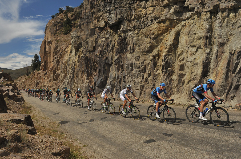 . STEAMBOAT SPRINGS, CO - August 21: David Millar of Team Garmin- Sharp (#5) and group of cyclists are heading to Kremmling during 106.9 mi third stage of 2013 USA Pro Challenge race from Breckenridge to Steamboat Springs. Steamboat Springs, Colorado. August 21, 2013. (Photo By Hyoung Chang/The Denver Post)
