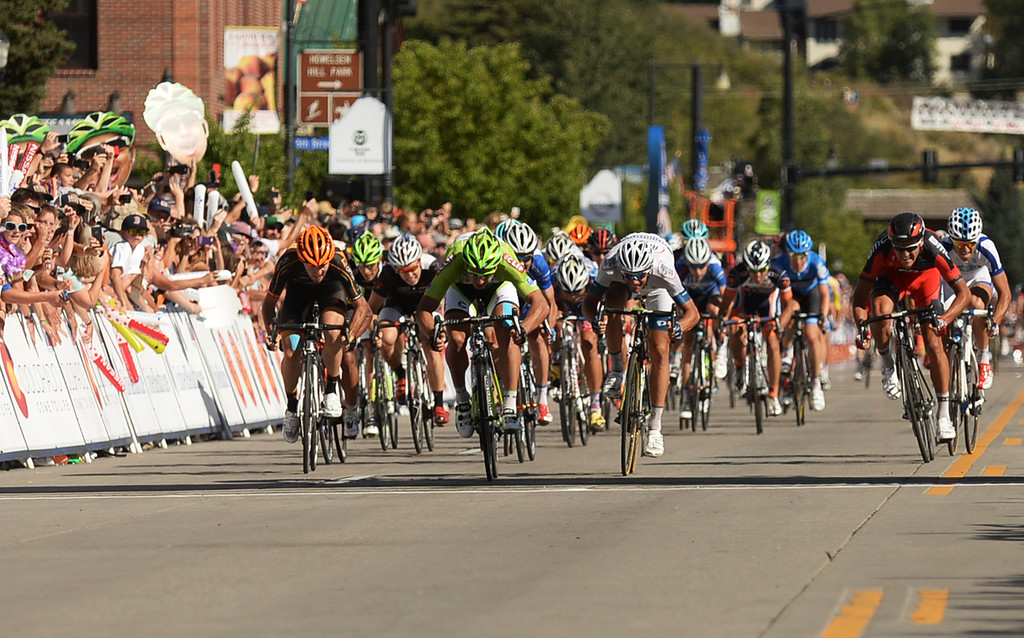. STEAMBOAT SPRINGS, CO - August 21: Peter Sagan of Cannondale Pro Cycling Team, front, won the 106.9 mi third stage of 2013 USA Pro Challenge race from Breckenridge to Steamboat Springs. Steamboat Springs, Colorado. August 21, 2013. (Photo By Hyoung Chang/The Denver Post)