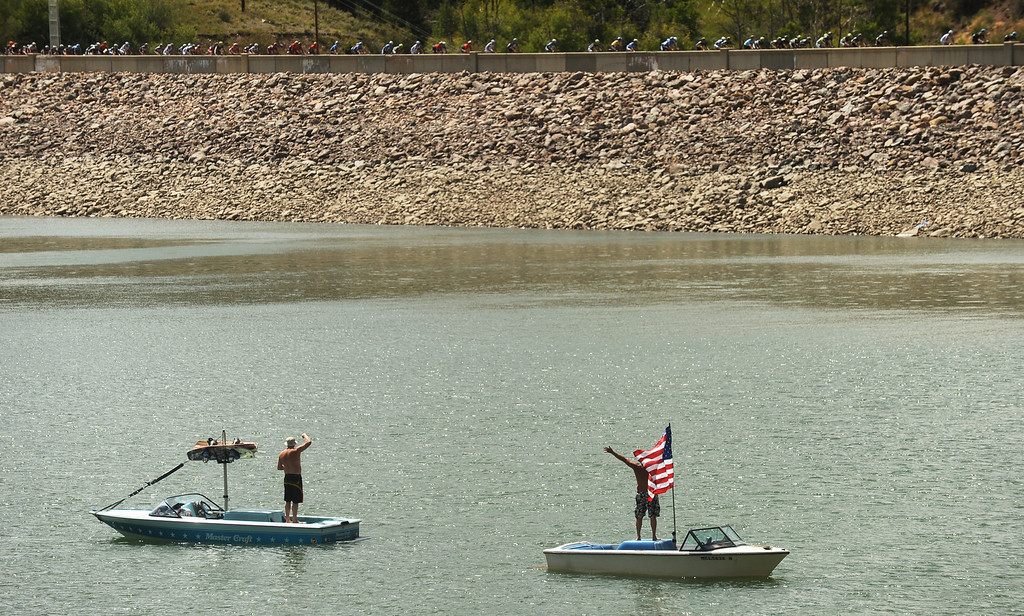 . STEAMBOAT SPRINGS, CO - August 21: Fans cheer from boats during 106.9 mi third stage of 2013 USA Pro Challenge race from Breckenridge to Steamboat Springs. Steamboat Springs, Colorado. August 21, 2013. (Photo By Hyoung Chang/The Denver Post)