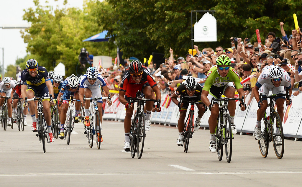 . Peter Sagan of Cannondale Pro Cycling Team, 2nd from right, won the 115.2 mile 6th stage of 2013 USA Pro Challenge race from Loveland to Fort Collins, Colorado. August 24, 2013. Sagan has won three stages. (Photo by Hyoung Chang/The Denver Post)