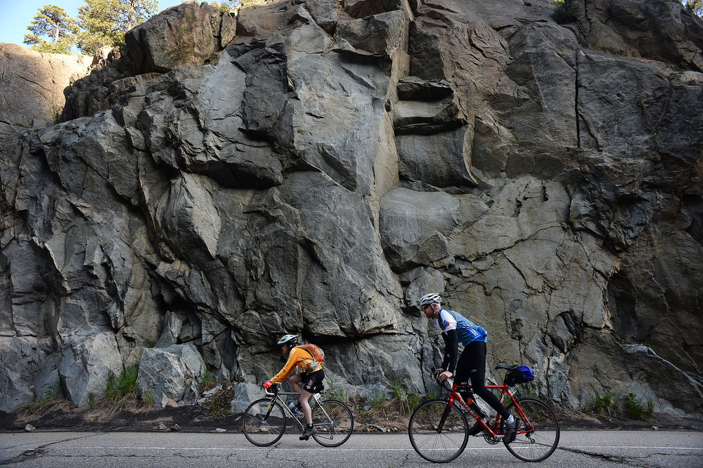 . Cyclists make their way through the Narrows, the steepest climb up Boulder Canyon  (Photo By Helen H. Richardson/ The Denver Post)