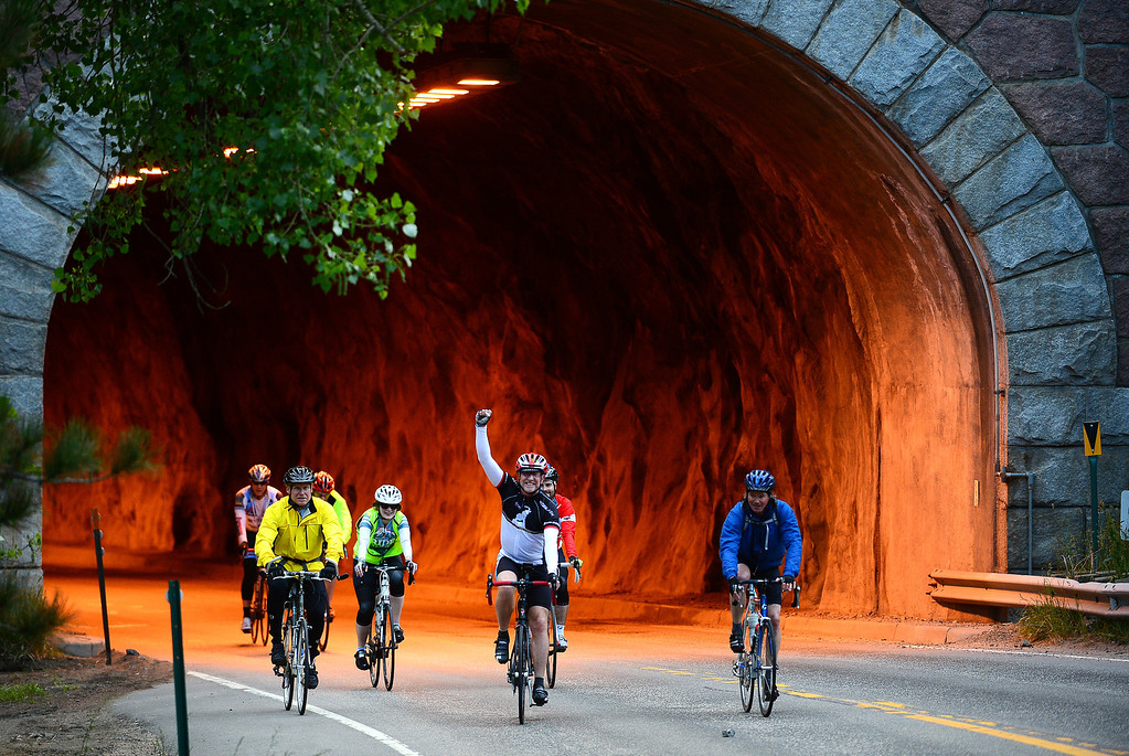 . Cyclists make their way up Boulder Canyon outside of Boulder on June 8, 2014, during the first day of the Ride the Rockies tour.   More than 2,000 cyclists are taking part in the annual ride. (Photo By Helen H. Richardson/ The Denver Post)
