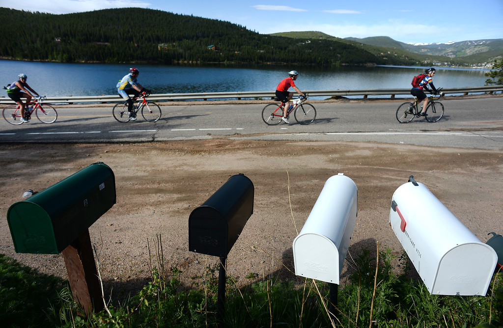 . Cyclists top out at Barker Reservoir  in Nederland, CO, after making the 18-mile ascent up Boulder Canyon on June 8, 2014, during the first day of the Ride the Rockies tour.  (Photo By Helen H. Richardson/ The Denver Post)