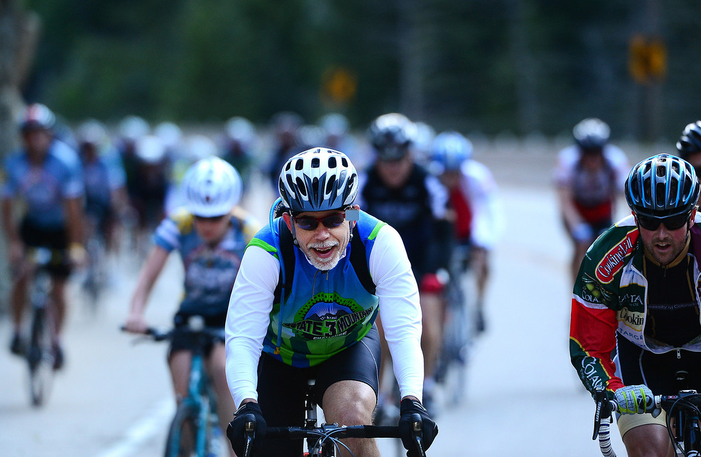 . Cyclists make their way through the Narrows, the steepest climb up Boulder Canyon, in Boulder on day one of the Ride the Rockies cycling tour through Colorado. (Photo By Helen H. Richardson/ The Denver Post)