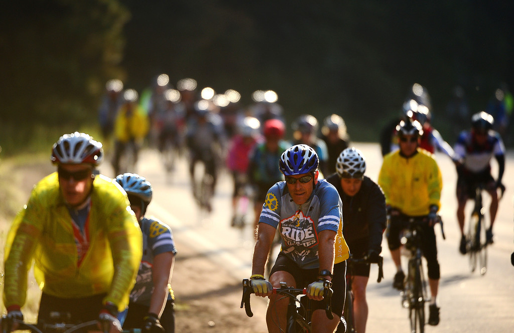 . Ride the Rockies participants make their way up Boulder Canyon near Boulder on June 8, 2014.  (Photo By Helen H. Richardson/ The Denver Post)