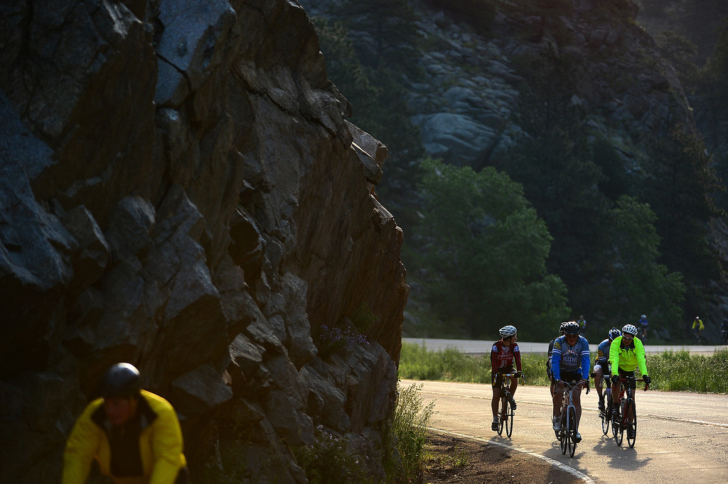 . Cyclists make their way up Boulder Canyon in Boulder on June 8, 2014.    (Photo By Helen H. Richardson/ The Denver Post)
