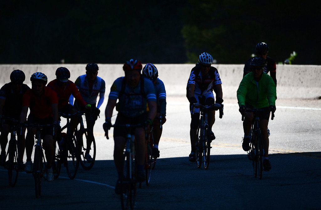 . Cyclists make their way through the Narrows, the steepest climb up Boulder Canyon, en route to Nederland and then Winter Park on Sunday, June 8, 2014. (Photo By Helen H. Richardson/ The Denver Post)