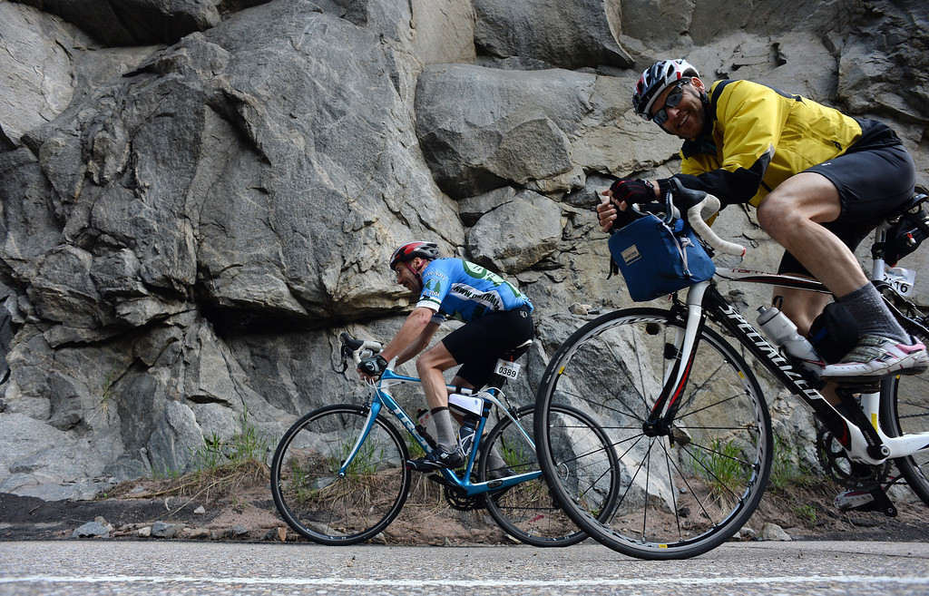 . Ride the Rockies cyclists make their way through the Narrows, the steepest climb up Boulder Canyon, outside Boulder, CO on June 8, 2014.  . (Photo By Helen H. Richardson/ The Denver Post)