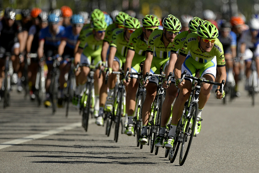 . Team Cannondale crosses CO-82 in front of Buttermilk Mountain during the USA Pro Challenge on Monday, August, 18, 2014. (AAron Ontiveroz, The Denver Post)