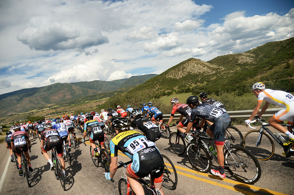 . Cyclists in the 1st Stage of the 2014 USA Pro Challenge. Aspen, Colorado. August 18. 2014. The Aspen/Snowmass Circuit is 65 miles (3 laps of nearly 22 miles each), and 2,300 ft. of climbing per lap. (Photo by Hyoung Chang/The Denver Post)