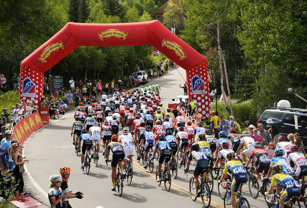 . 2nd group of Peloton is climbing hill during the 1st Stage of 2014 USA Pro Challenge. Aspen, Colorado. August 18. 2014. The Aspen/Snowmass Circuit is 65 miles (3 laps of nearly 22 miles each), and 2,300 ft. of climbing per lap. (Photo by Hyoung Chang/The Denver Post)