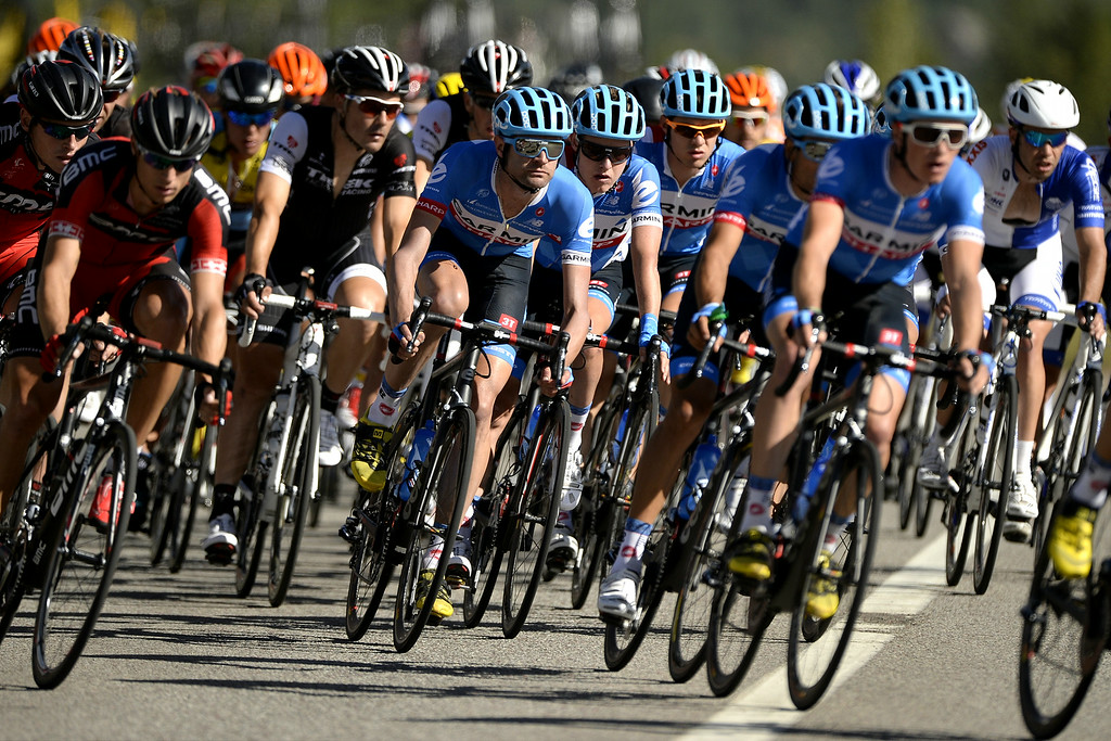 . ASPEN, CO. AUGUST 18 - Team Garmin crosses CO-82 in front of Buttermilk Mountain with the pack during the USA Pro Challenge on Monday, August, 18, 2014. (AAron Ontiveroz, The Denver Post)