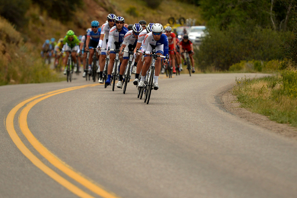 . Team Jelly Bell P/B Maxxis leads the pack early in the stage 2. The USA Pro Challenge stage 2 on Tuesday, August 19, 2014. (Photo by AAron Ontiveroz/The Denver Post)