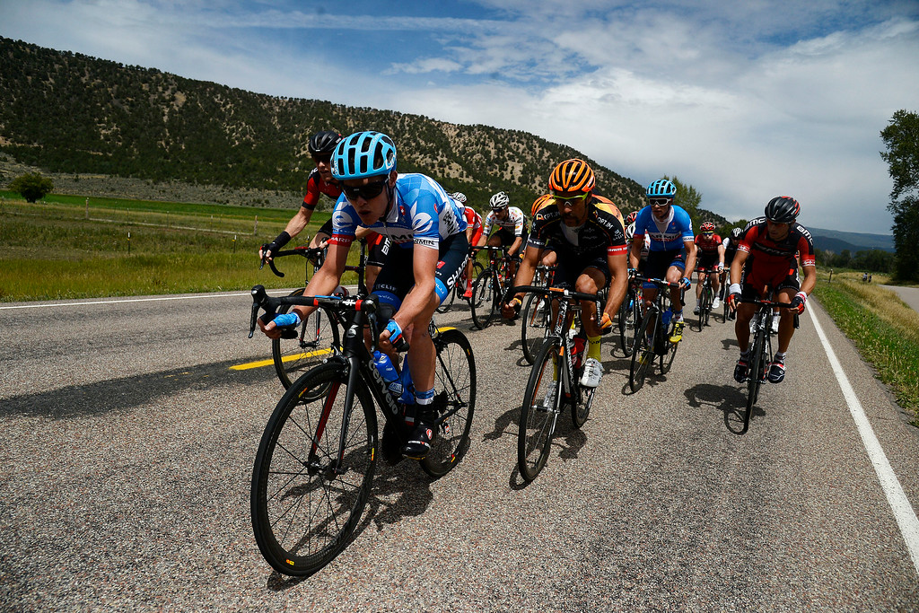 . Gavin Mannion of Garmin-Sharp leads a small pack during stage 2. The USA Pro Challenge stage 2 on Tuesday, August 19, 2014. (Photo by AAron Ontiveroz/The Denver Post)