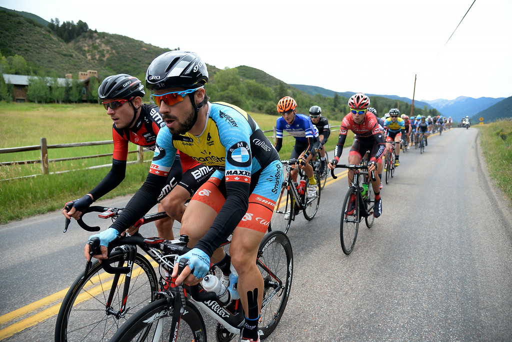 . Zach Bell (right) and Michael Schar (right) lead a group of riders during stage 2 en route to Crested Butte. The USA Pro Challenge stage 2 on Tuesday, August 19, 2014. (Photo by AAron Ontiveroz/The Denver Post)