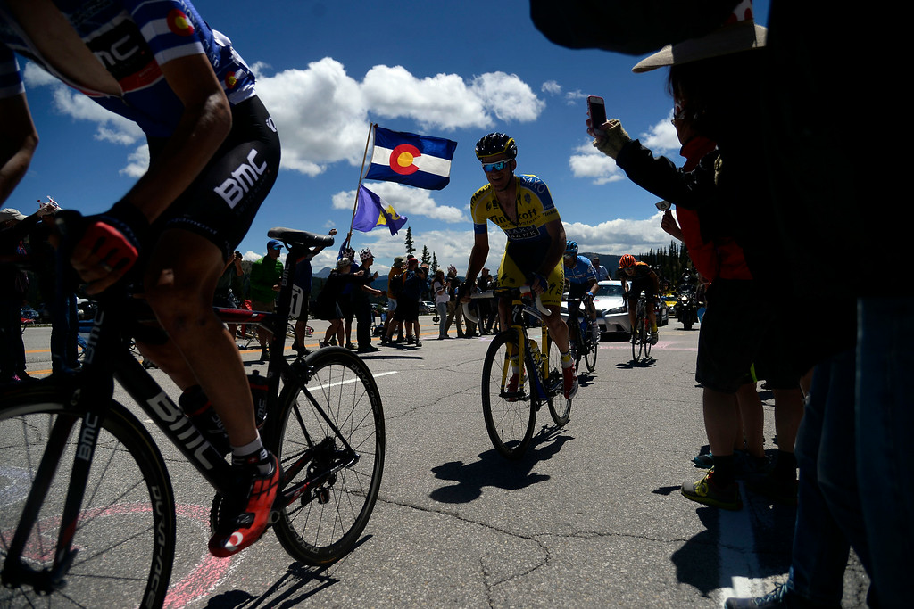 . Riders in the lead pack make their way over Monarch Pass. The USA Pro Challenge stage 3 on Wednesday, August 20, 2014. (Photo by AAron Ontiveroz/The Denver Post)