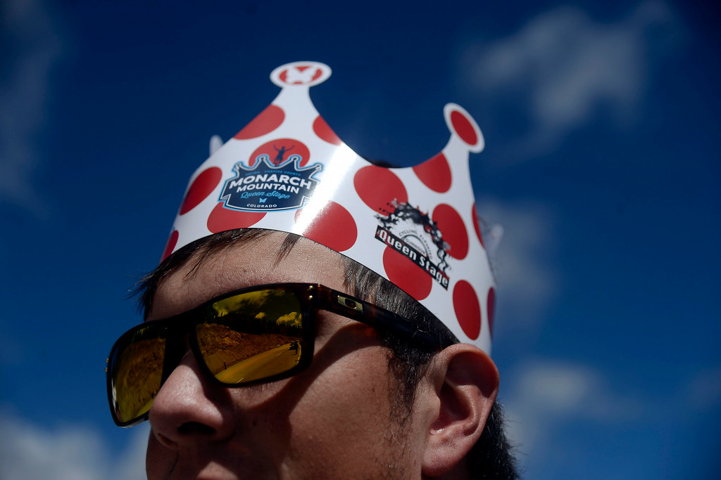. Erich Pomrening of Superior wears a festive crown marking the ascent of Monarch Pass during stage 3 of the USA Pro Challenge. Hundreds of cyclists filled the highway over Monarch Pass in support of the athletes passing through later in the day. The USA Pro Challenge stage 3 on Wednesday, August 20, 2014. (Photo by AAron Ontiveroz/The Denver Post)