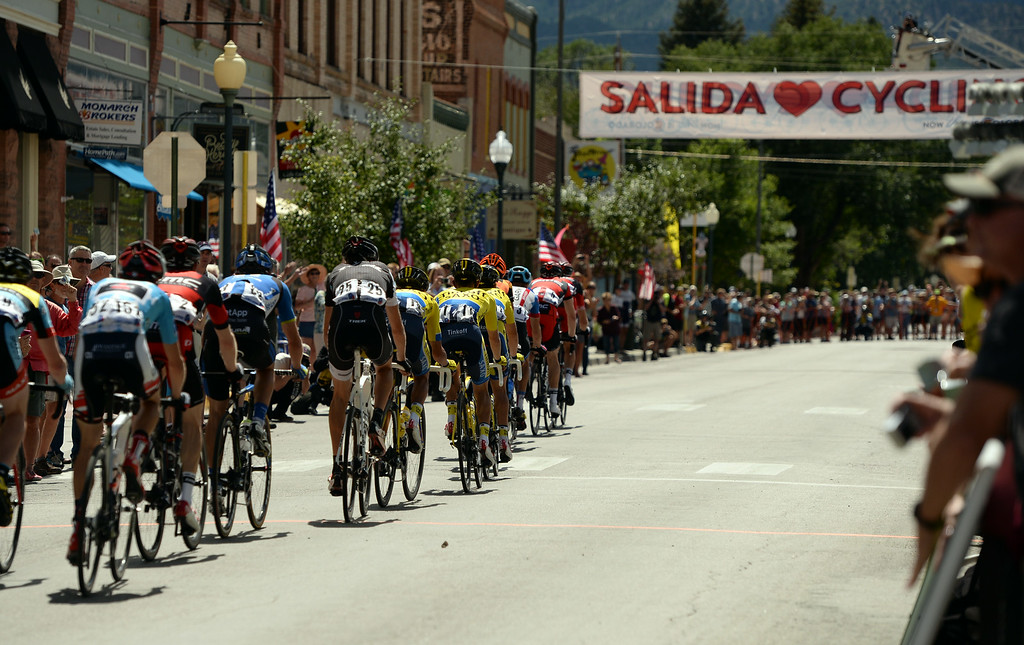 . City of Salida welcome cyclists of USA Pro Challenge. August 20, 2014. Stage 3 started in Gunnison and headed east for 35 miles before tackling the 11,300 ft. Monarch Pass. The riders descend the eastern slope of the pass and did two 9-mile loops through Salida and the surrounding countryside. (Photo by Hyoung Chang/The Denver Post)
