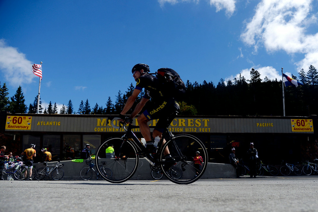 . Hundreds of cyclists filled the highway over Monarch Pass in support of the athletes passing through later in the day. The USA Pro Challenge stage 3 on Wednesday, August 20, 2014. (Photo by AAron Ontiveroz/The Denver Post)