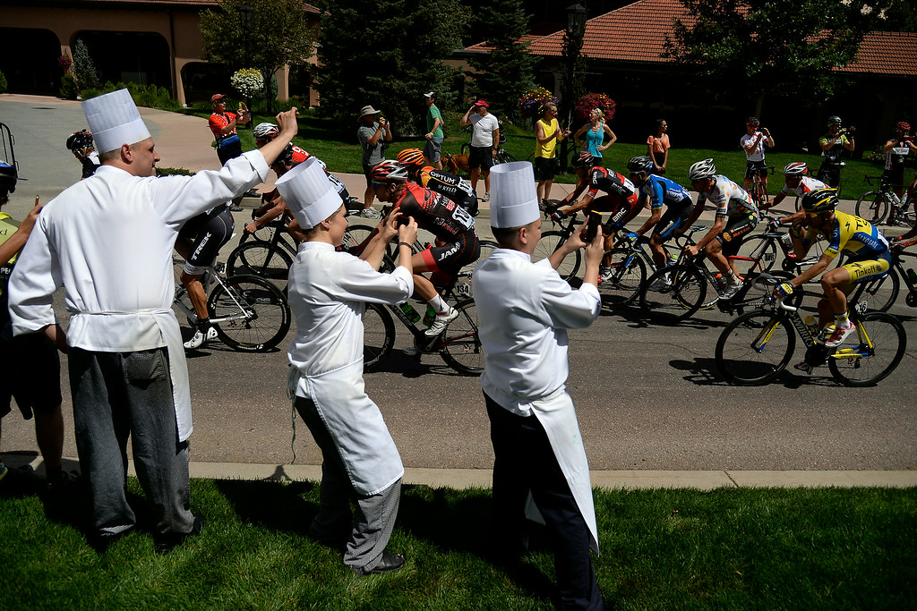 . COLORADO SPRINGS, CO - AUGUST 21: People watch near the Broadmoor during stage 4. The USA Pro Challenge stage 4 on Thursday, August 21, 2014. (Photo by AAron Ontiveroz/The Denver Post)