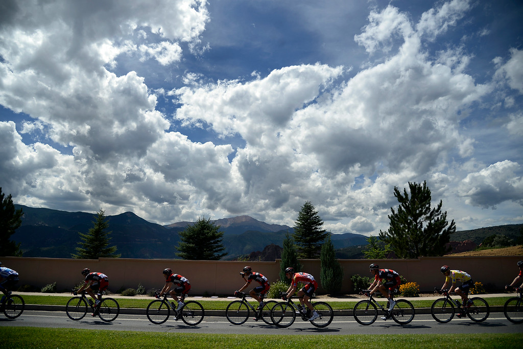 . COLORADO SPRINGS, CO - AUGUST 21: Riders exit Garden of the Gods during stage 4. The USA Pro Challenge stage 4 on Thursday, August 21, 2014. (Photo by AAron Ontiveroz/The Denver Post)