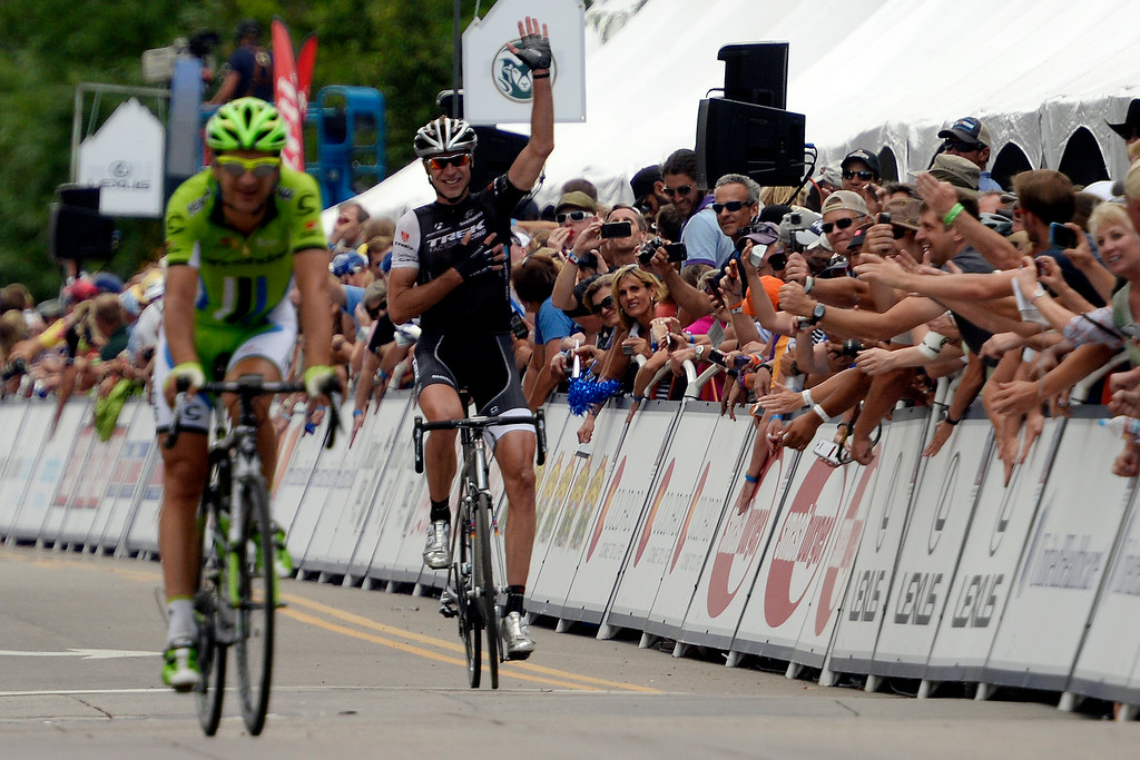 . COLORADO SPRINGS, CO - AUGUST 21: Trek Factory Racing rider Jens Voigt waves to the crowd at the close of stage 4. The USA Pro Challenge stage 4 on Thursday, August 21, 2014. (Photo by AAron Ontiveroz/The Denver Post)
