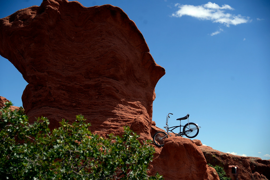 . COLORADO SPRINGS, CO - AUGUST 21: A vintage bicycle sits atop a rock in Garden of the Gods during stage 4. The USA Pro Challenge stage 4 on Thursday, August 21, 2014. (Photo by AAron Ontiveroz/The Denver Post)